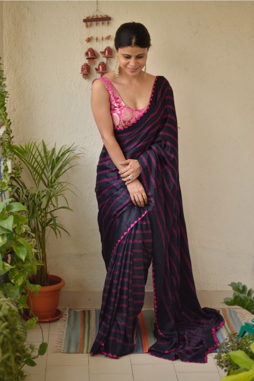 Handmade Bandhani gajji silk saree