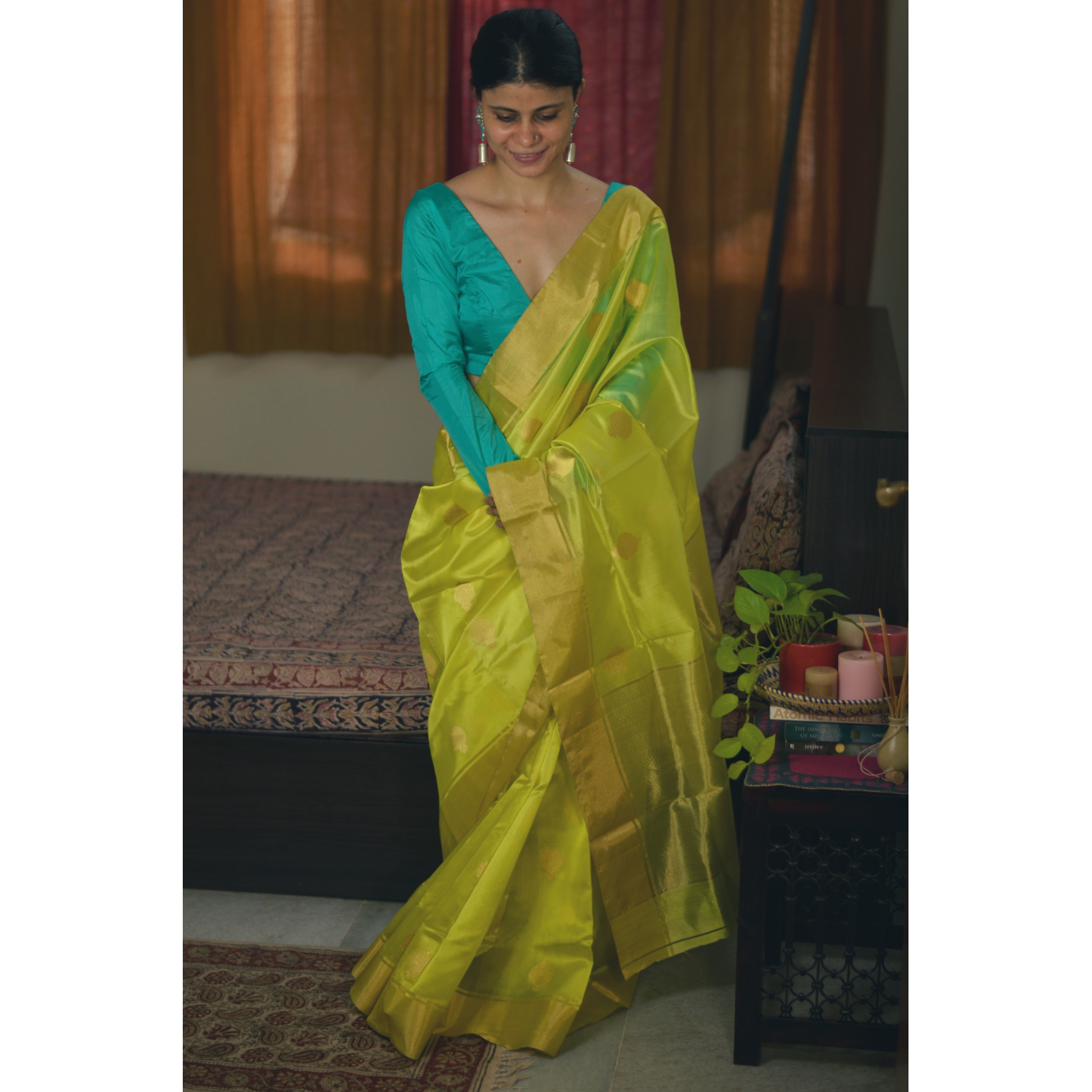 Handwoven chanderi silk saree with gold  border. and gold jari motifs.