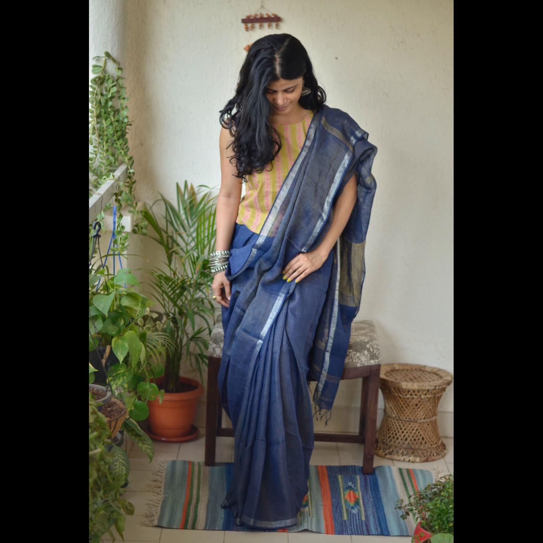 Handwoven linen saree with jari stripes