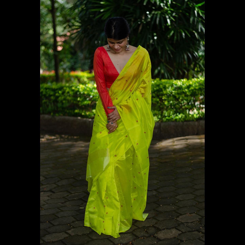 Handloom soft chanderi silk saree with bootis motifs
