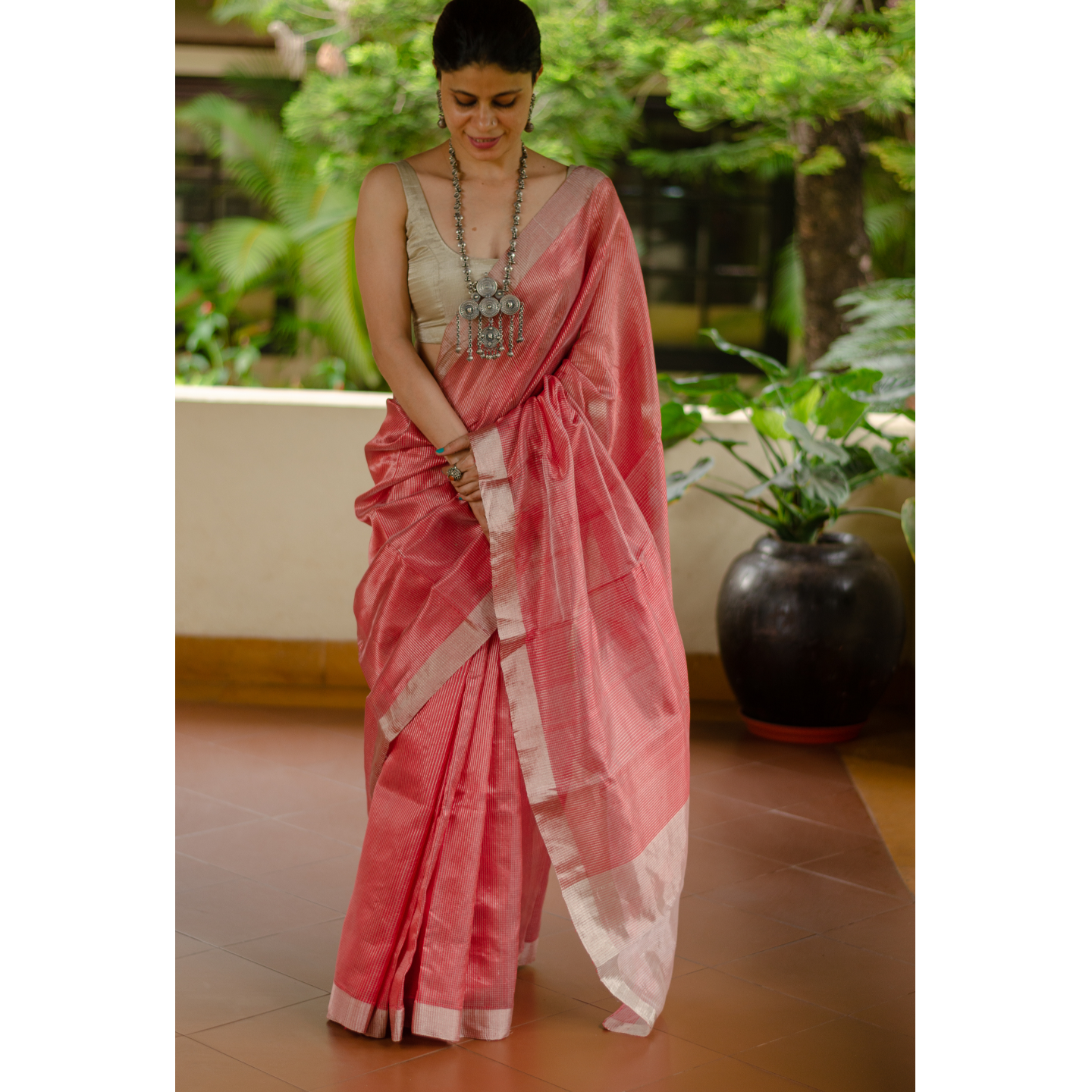 Handloom chanderi silk with zari blended saree.