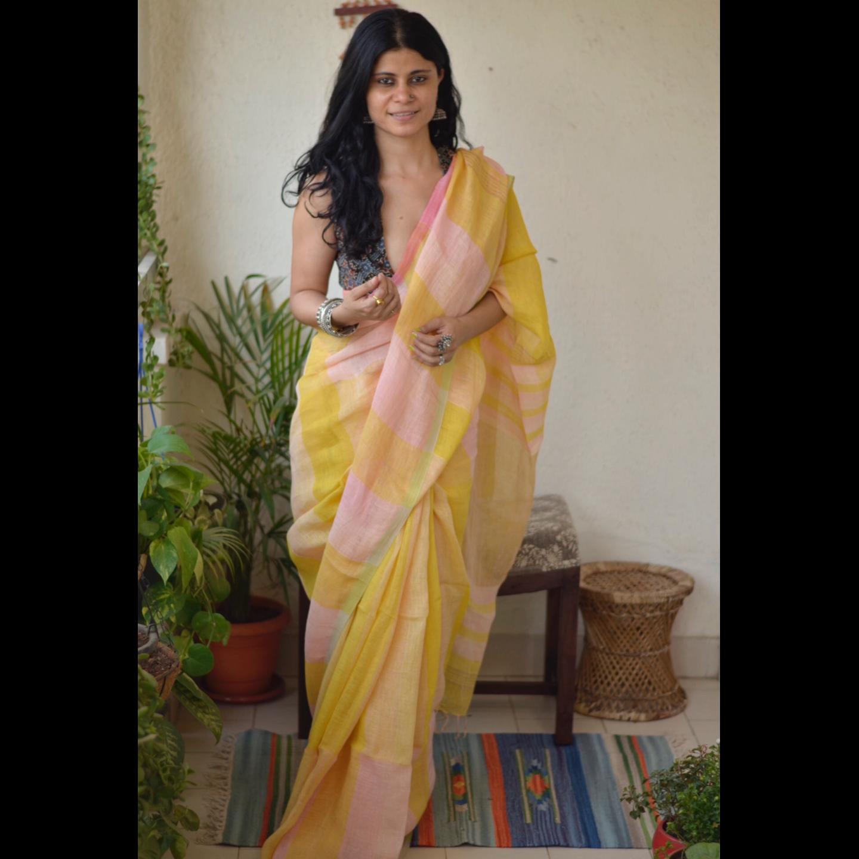 Handwoven linen saree with checks