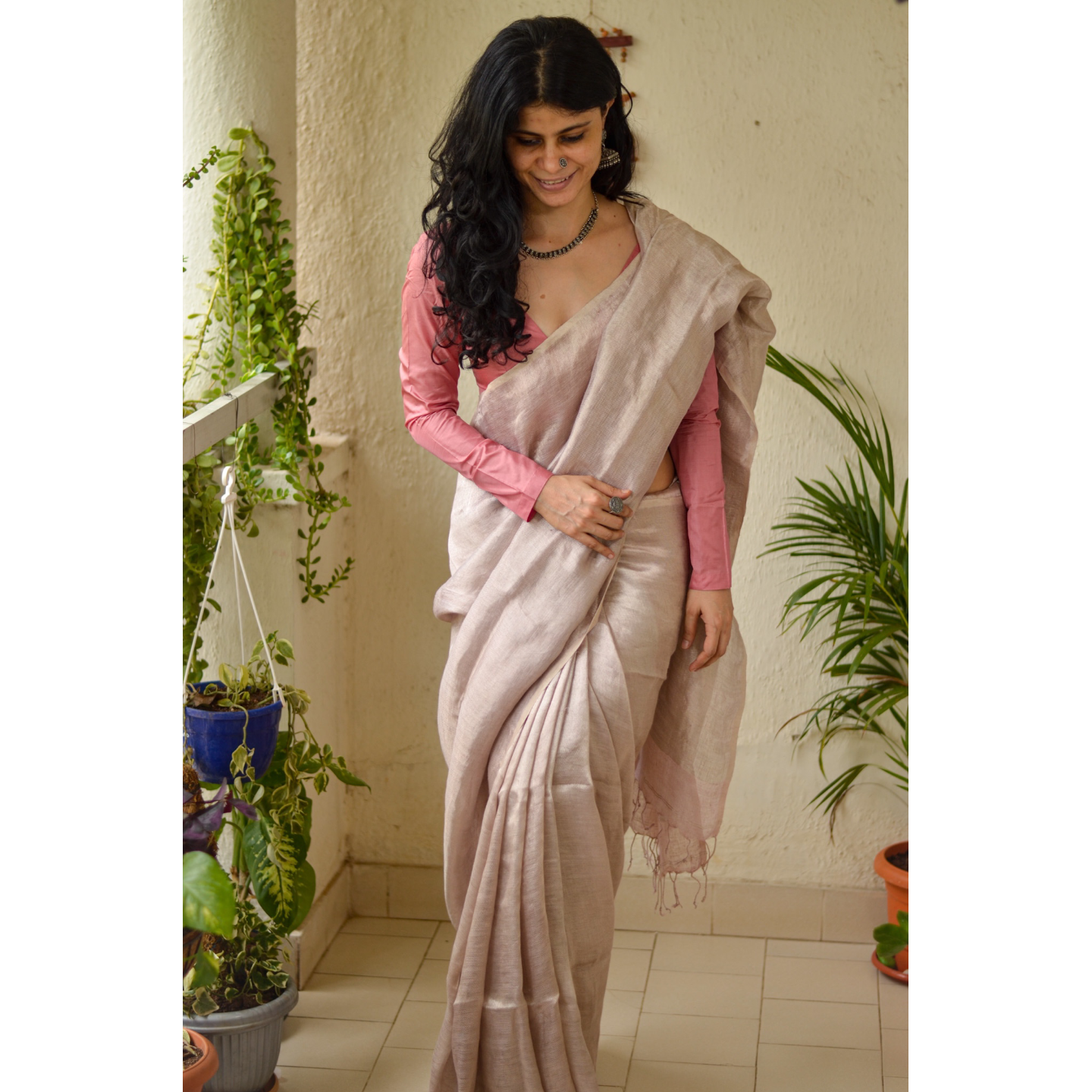 Handloom linen blended wd tissue saree
