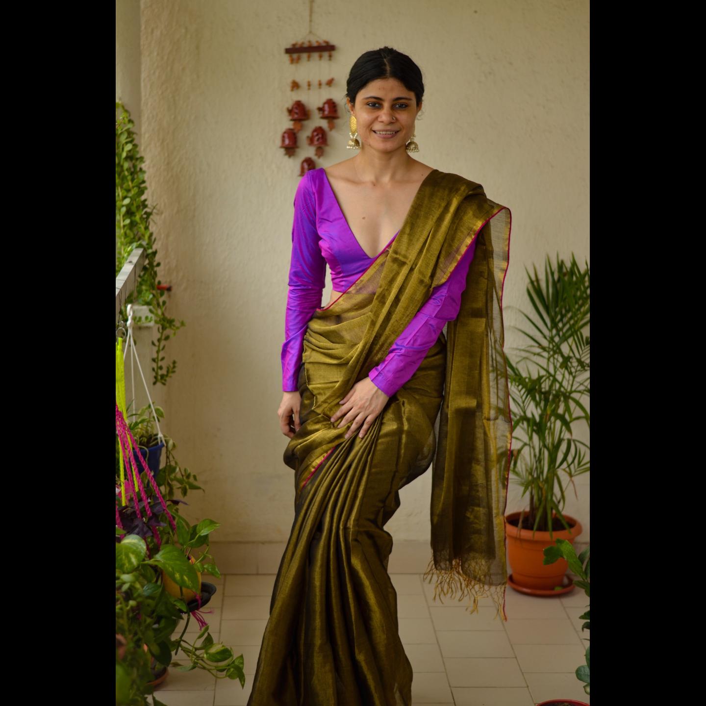 Handloom metallic linen saree