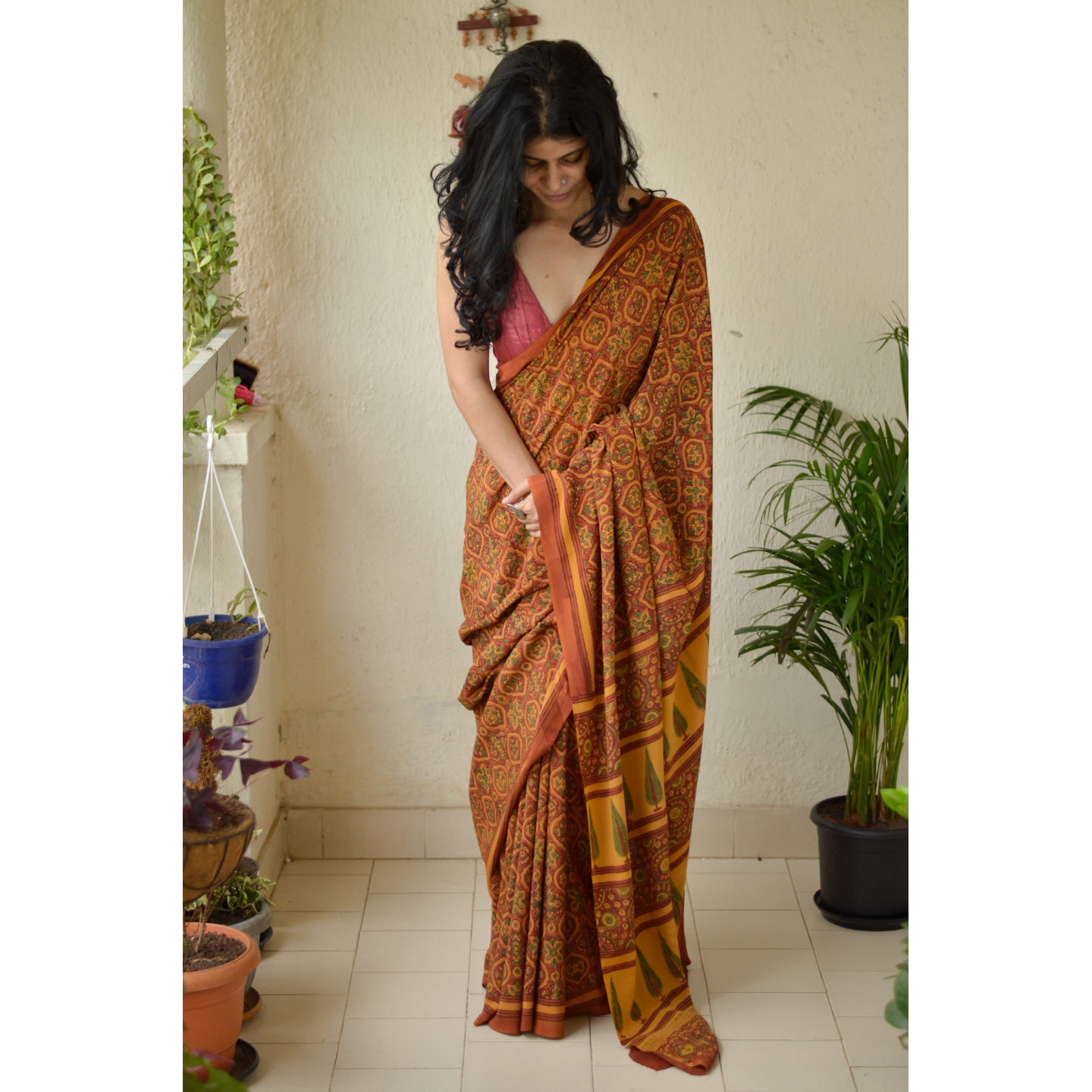 Handblock printed and handmade natural dyed crepe silk  Ajrakh  saree.