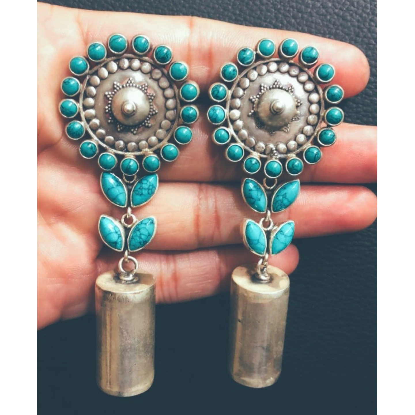 Turquoise blue tribal Stone Silver Earring