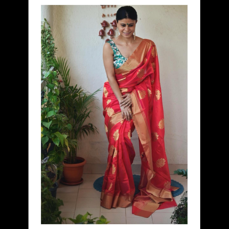 Handwoven chanderi silk saree with jari motif and meenakari work