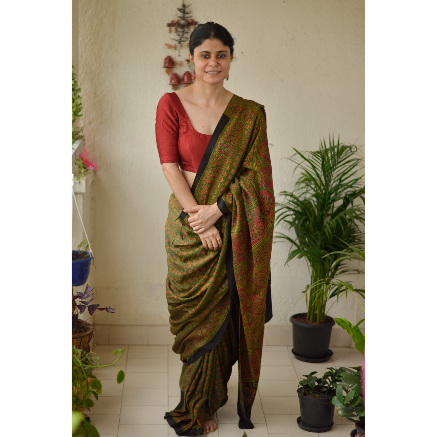 Small Handblock printed and handmade natural dyed Gajji silk Ajrakh  saree.