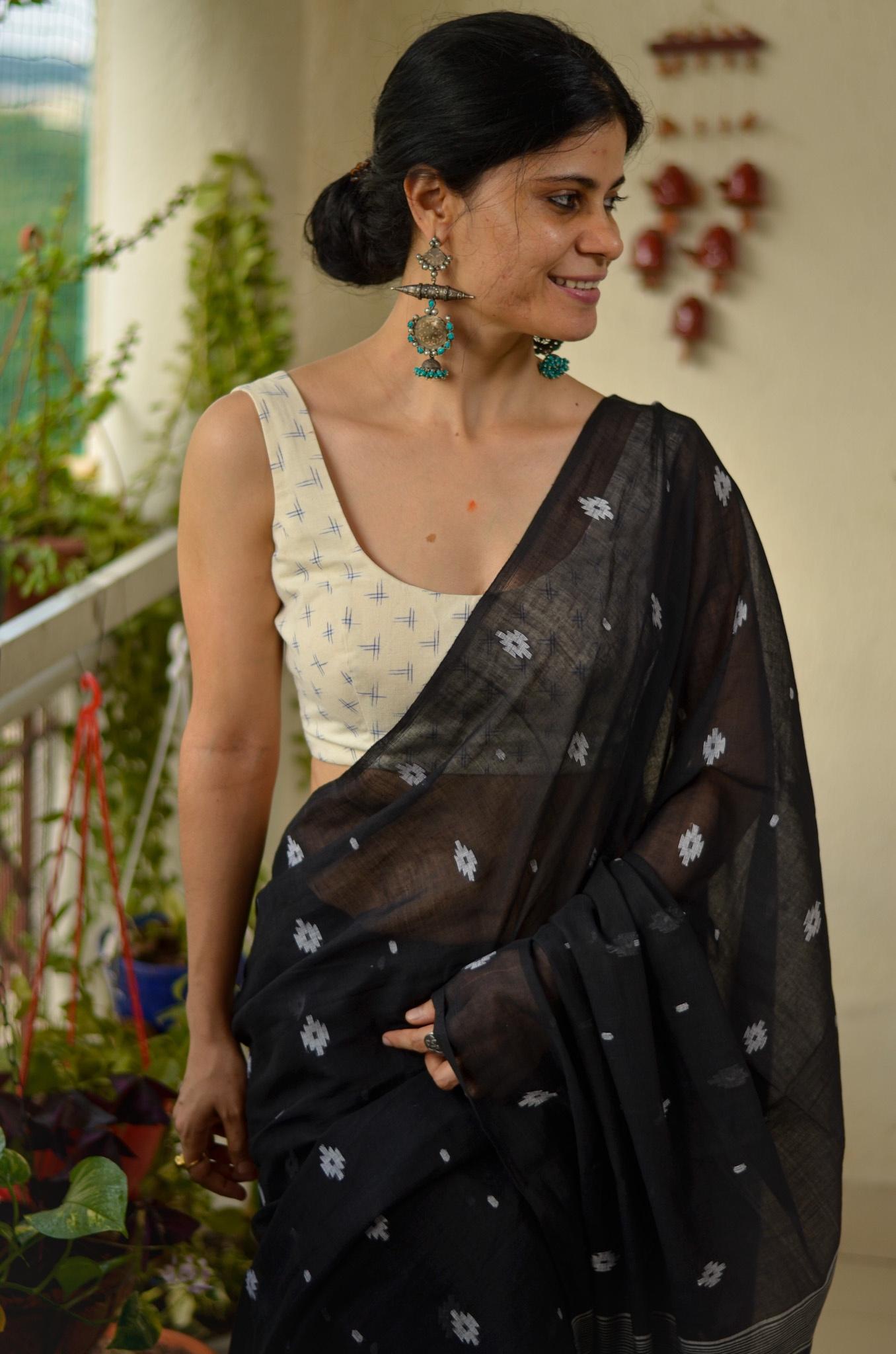 Handloom muslin jamdani saree