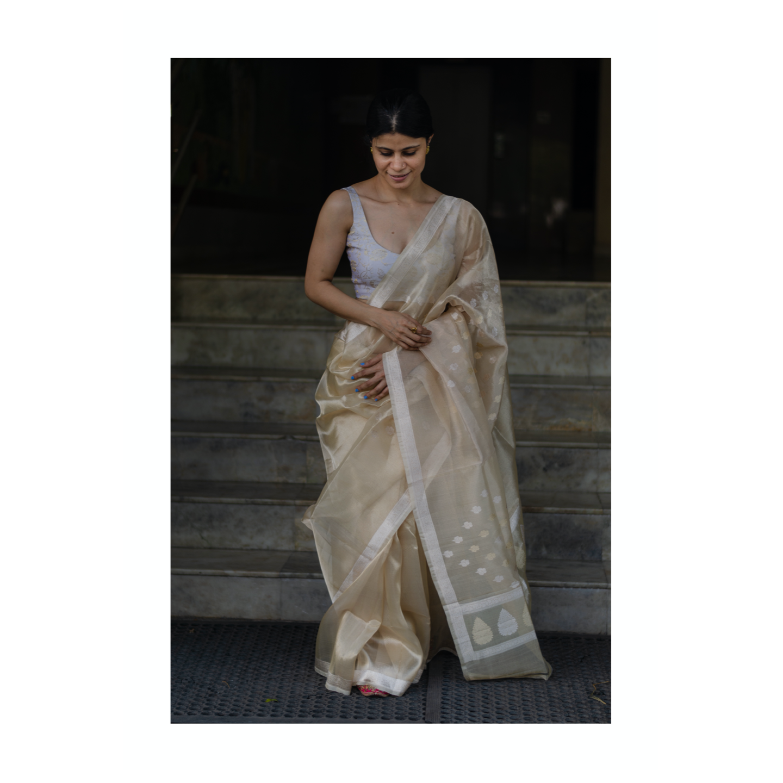 Handloom kadwa bootis motifs tissue silk banarasi saree.