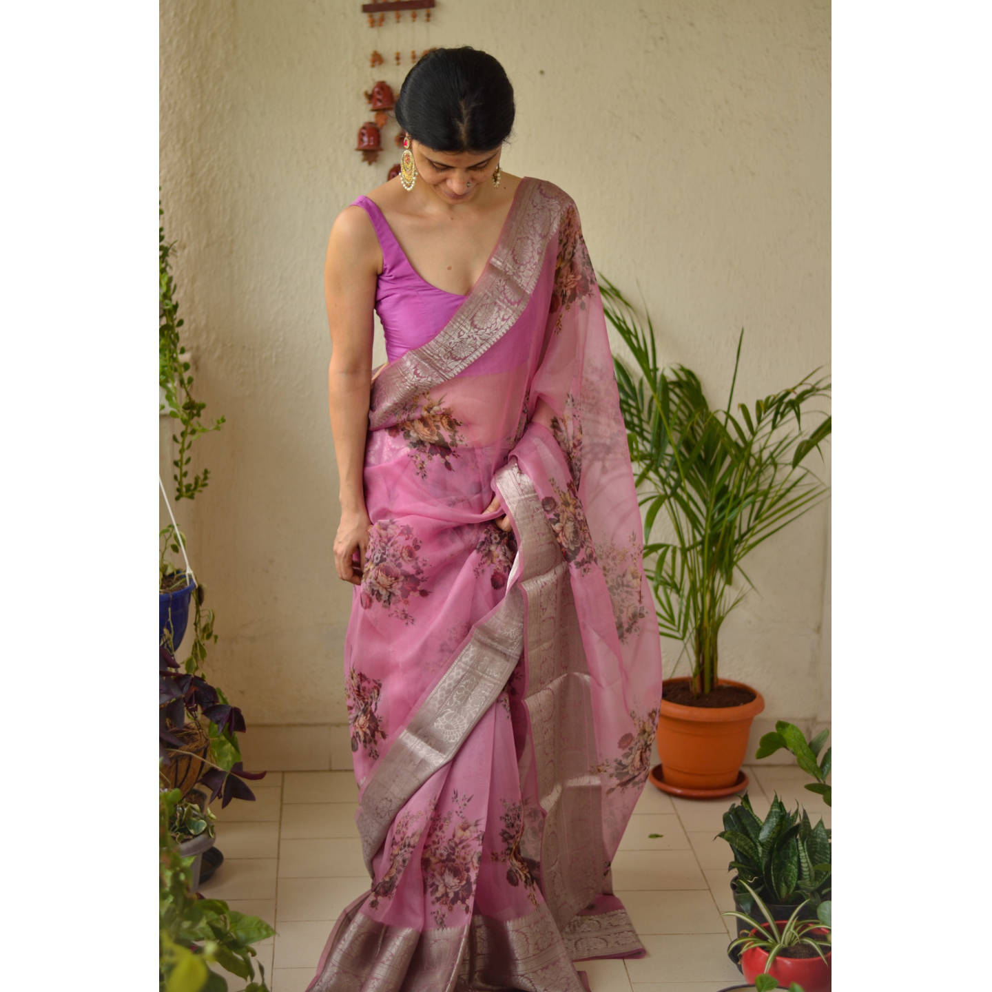 Organza Floral Print Banarasi Border Silk Saree with an additional  crape silk blouse piece.