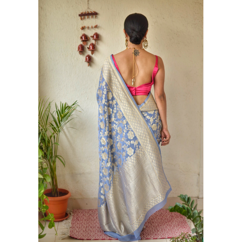 Handwoven kadhiyal jal jari motif Khaddi georgette Banarasi saree