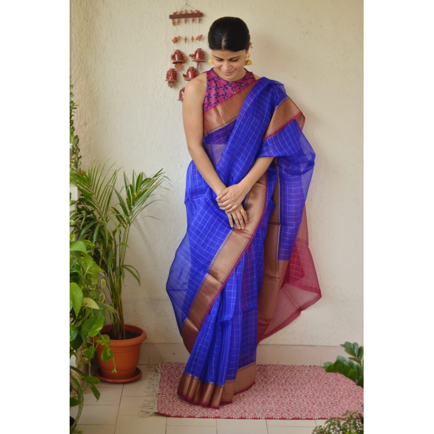 Handwoven organza  2x2 sheer silk saree with jari border.