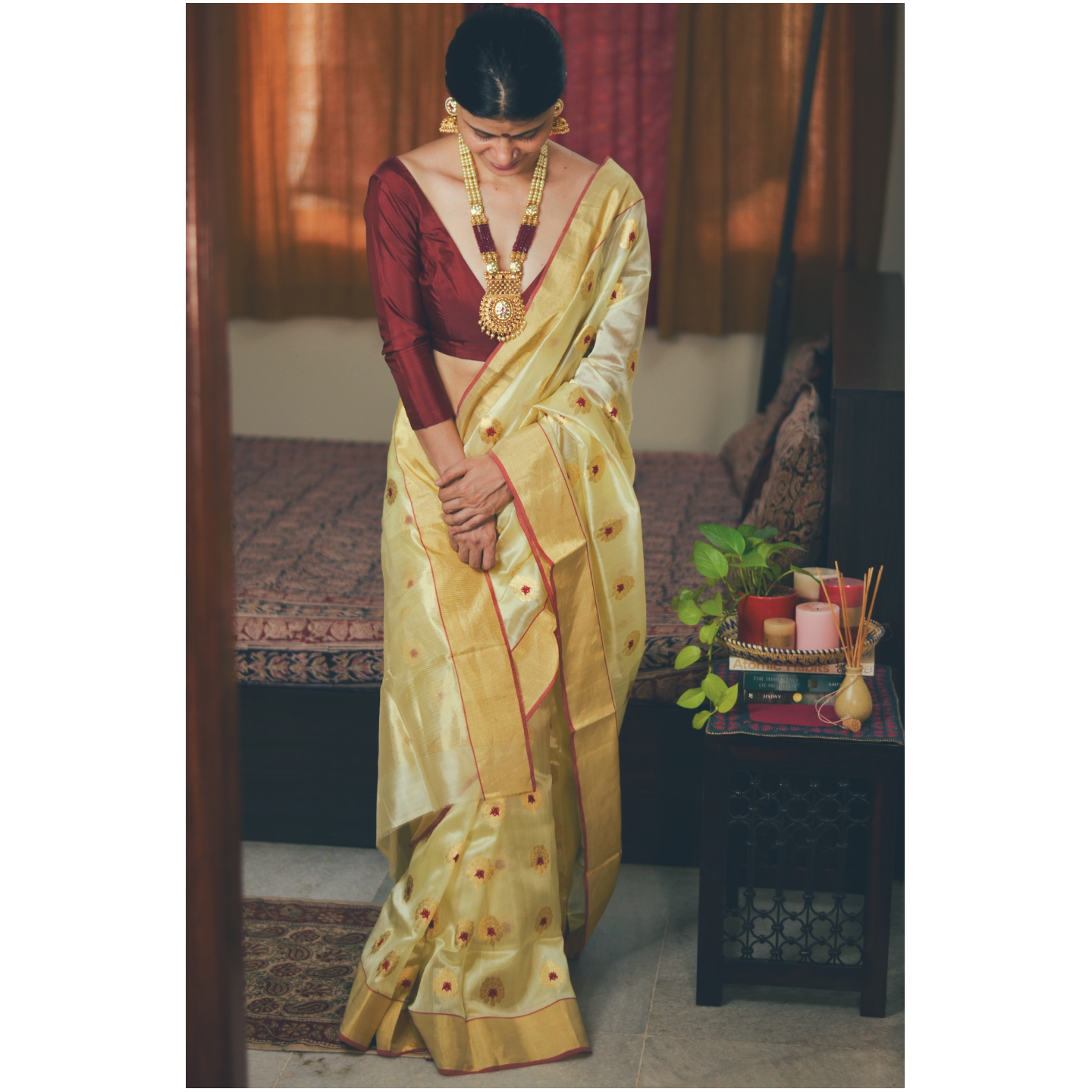 Handwoven chanderi silk saree with gold  border and gold jari  meenakshi motifs.