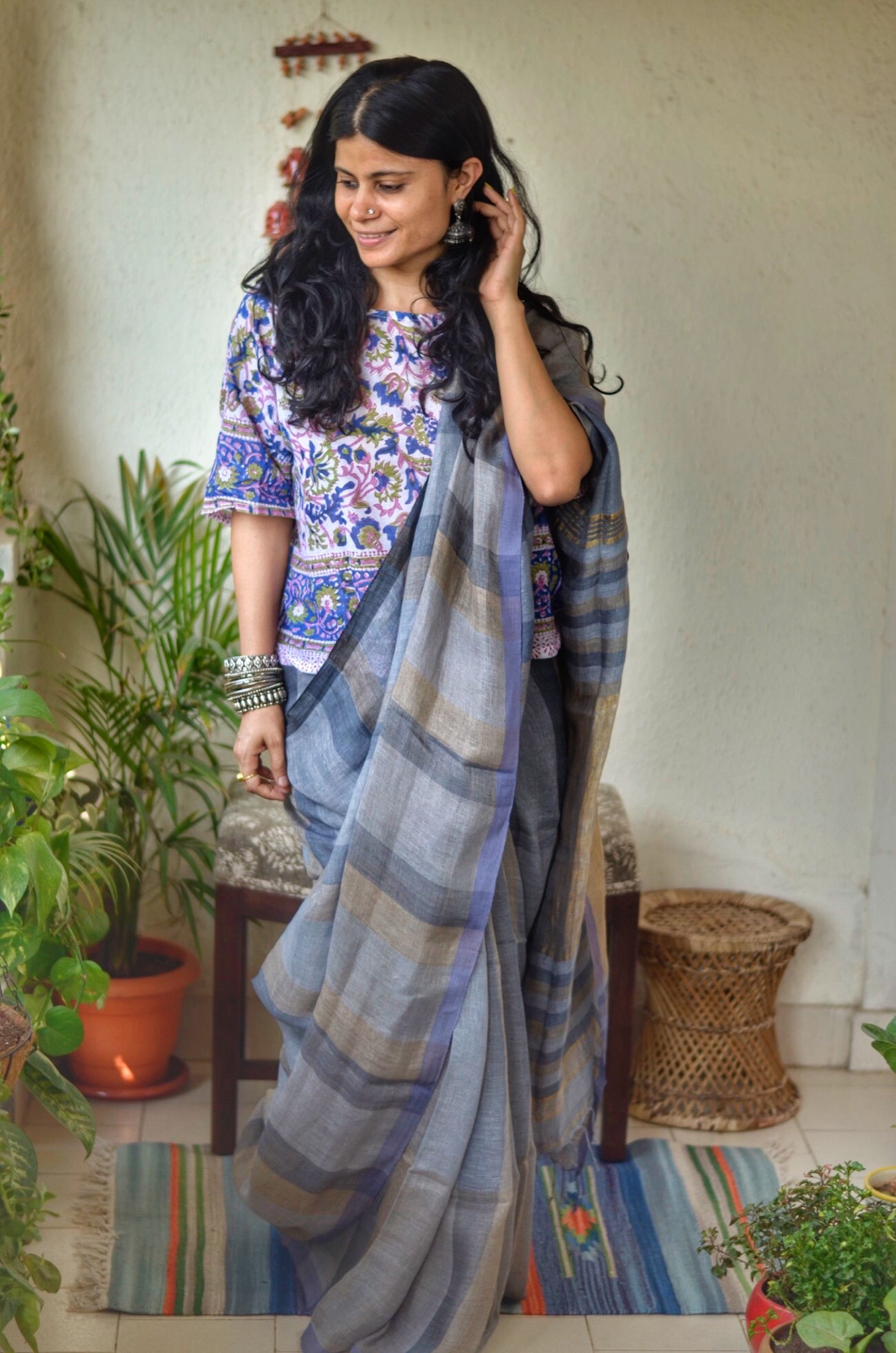 Handwoven line by linen saree