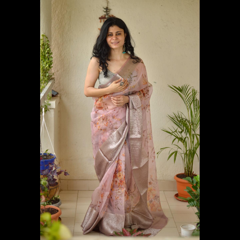 Organza Floral Print Banarasi Border Silk Saree.