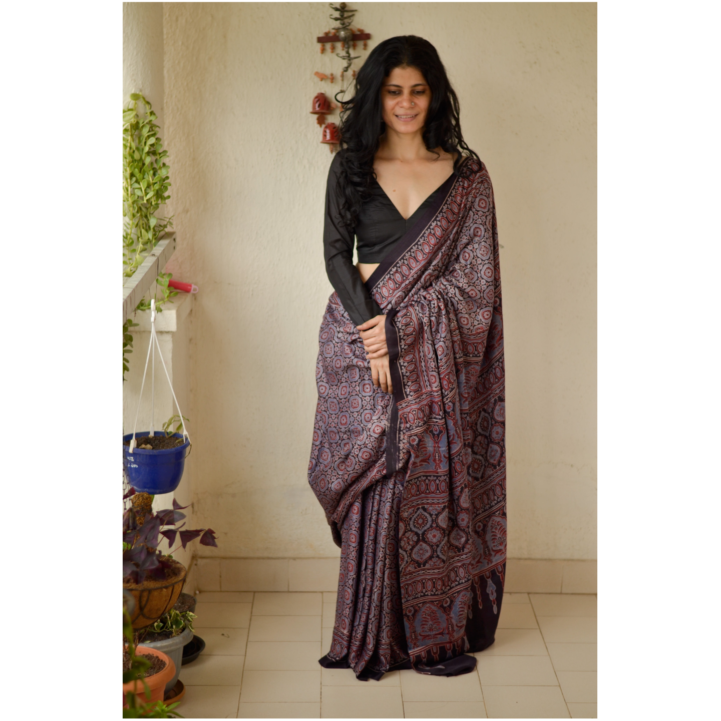 Handblock printed and handmade natural dyed gajji  silk Ajrakh  saree.