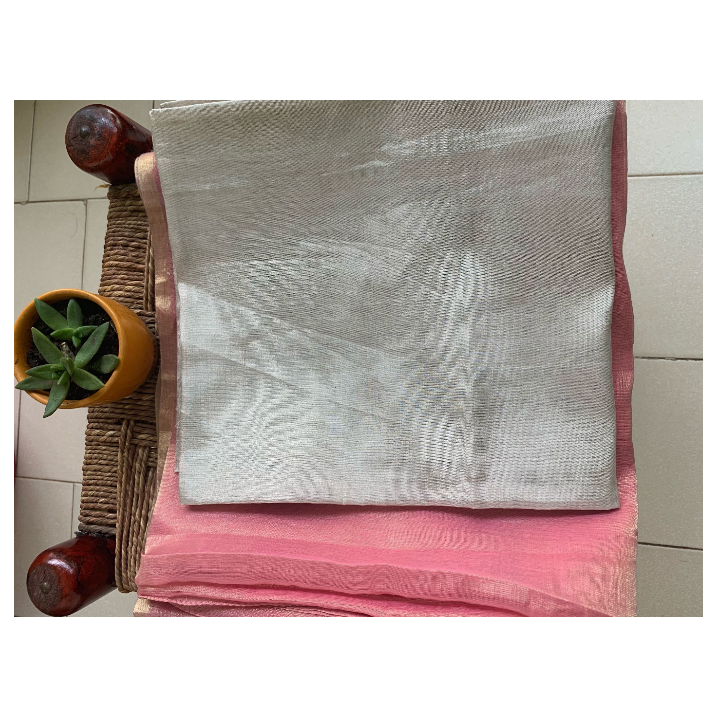 Handloom soft  tissue silk chanderi saree with hand embroidered.