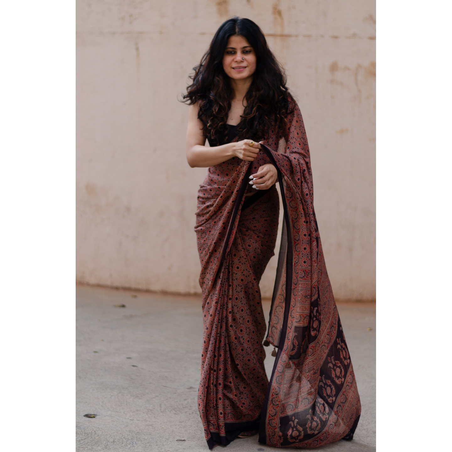 Natural dyed  intricate handblock printed Ajrakh chiffon silk saree.