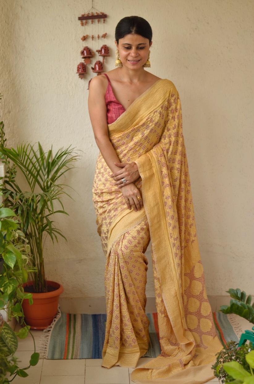 Handmade Bandhani georgette Banarasi saree