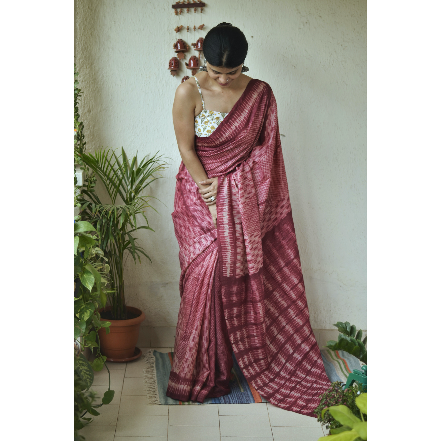 Handwoven and handmade Tussar silk shibori saree