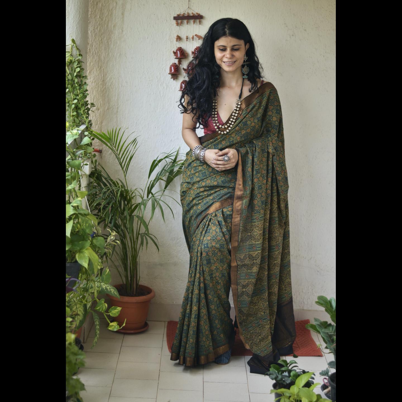 Handblock printed and handmade natural dyed mangalgiri cotton Ajrakh  saree.