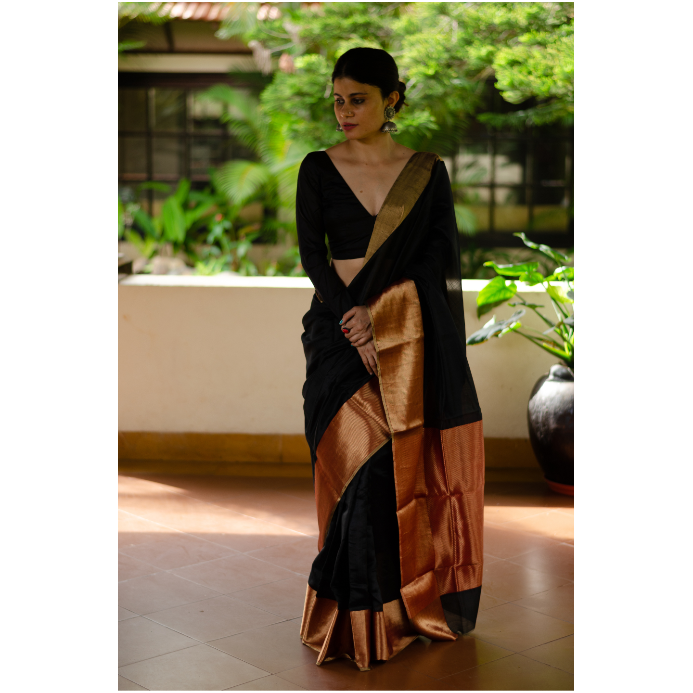 Handloom soft  resham silk chanderi saree with zari in pallu with zari border.
