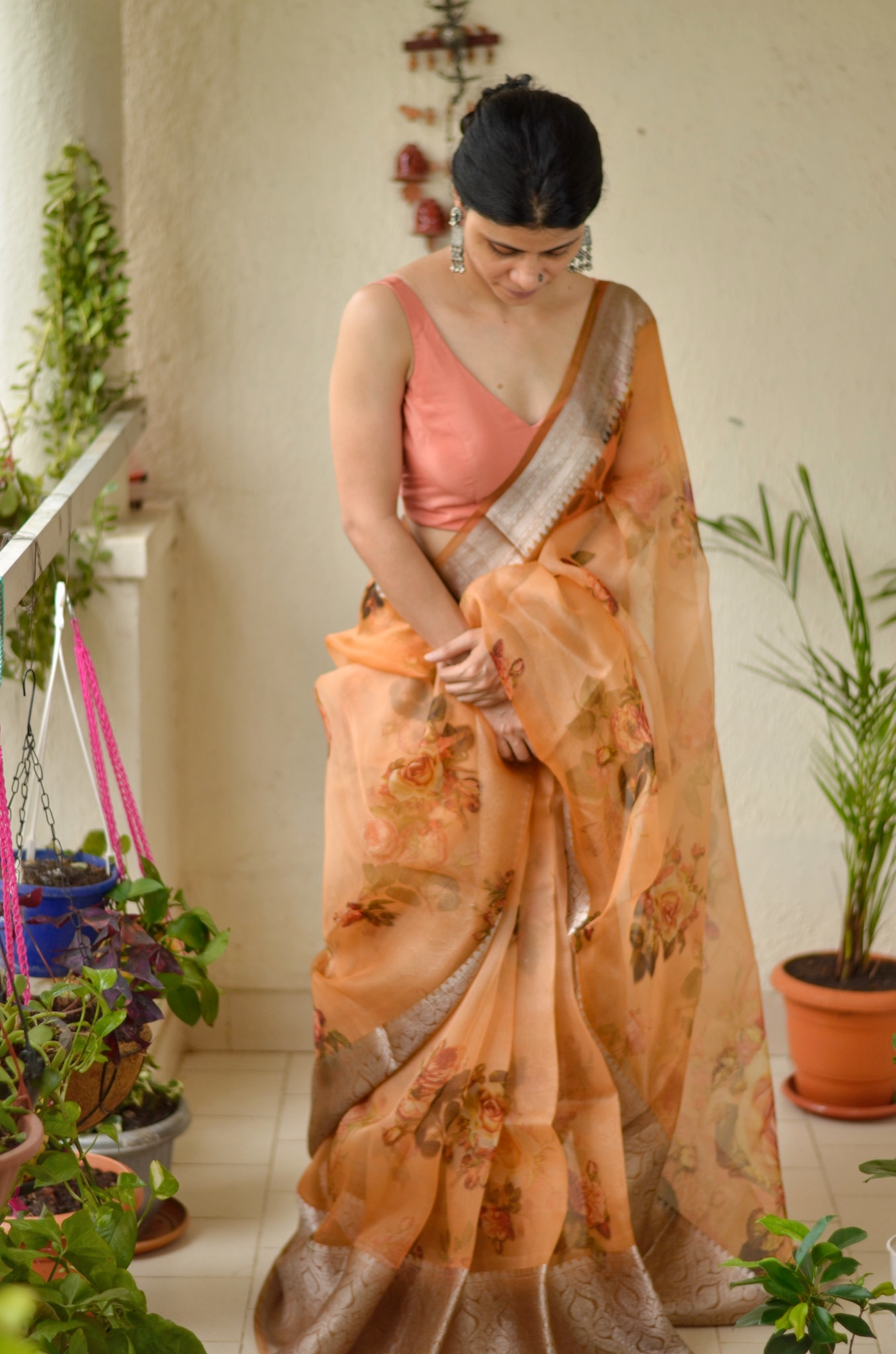Organza Floral Print Banarasi Border Silk Saree