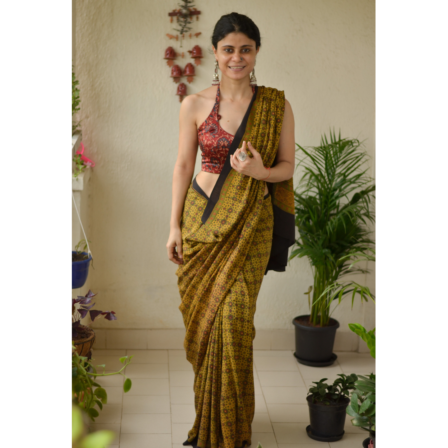 Small Handblock printed and handmade natural dyed Crepe silk Ajrakh  saree.