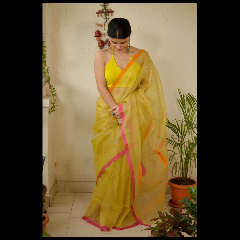 Handloom  soft resham by resham chanderi silk  sare