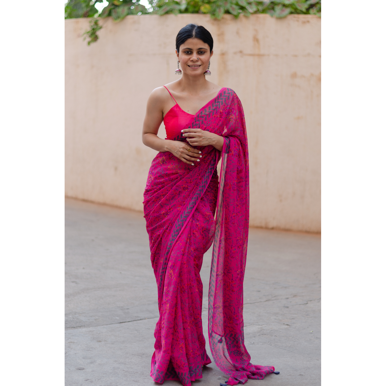Organic colour dyed and organic processed handblock print chiffon silk saree