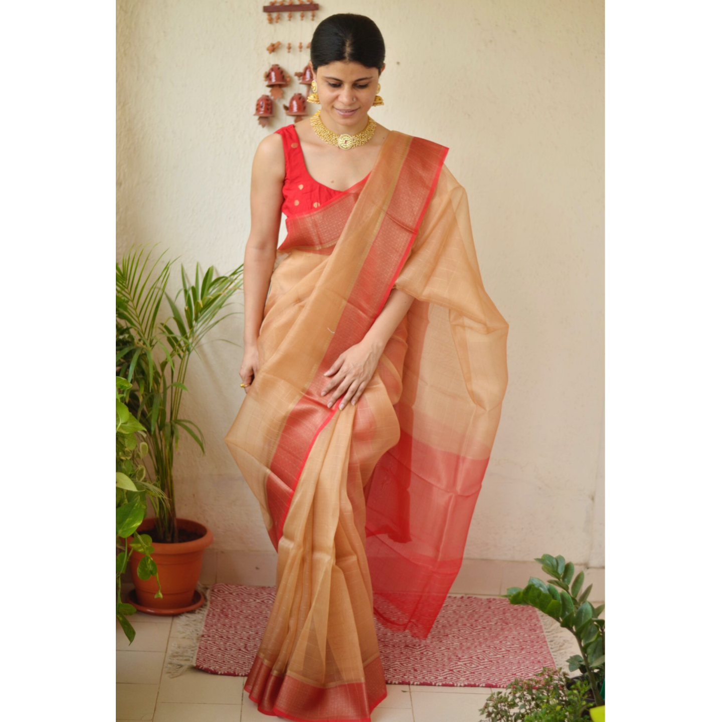 Handwoven organza  2x2 sheer silk saree with banarasi border.