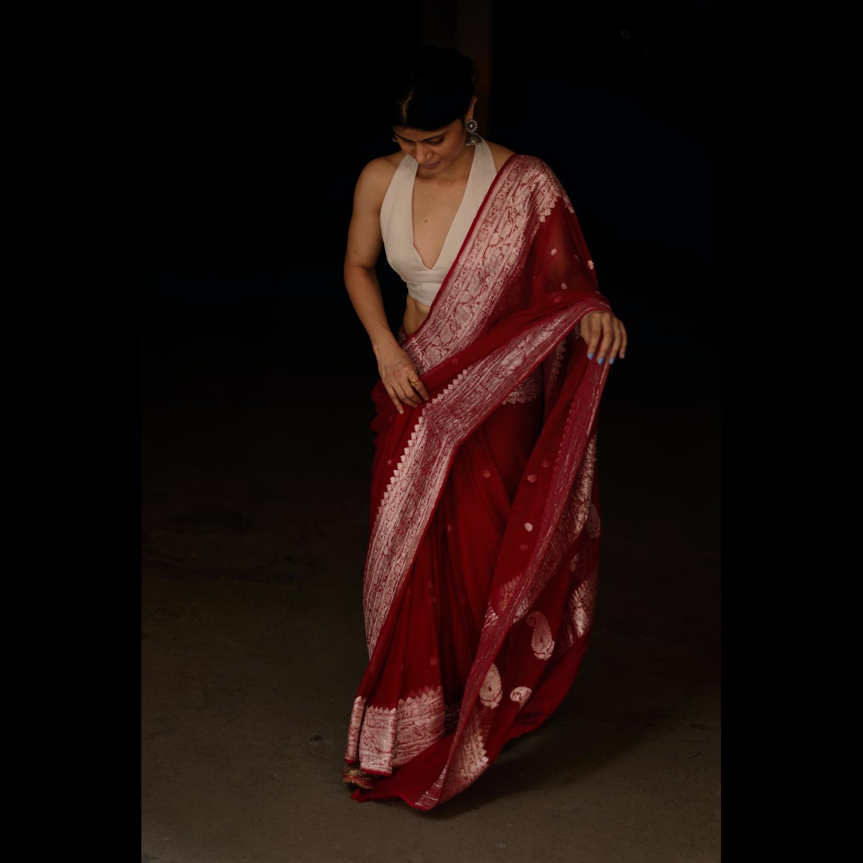 Handloom Rupa Booti khaddi chiffon banarasi saree