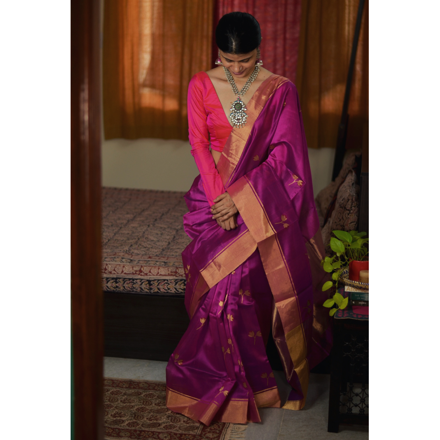 Handwoven chanderi silk saree with gold  border. and gold jari motifs