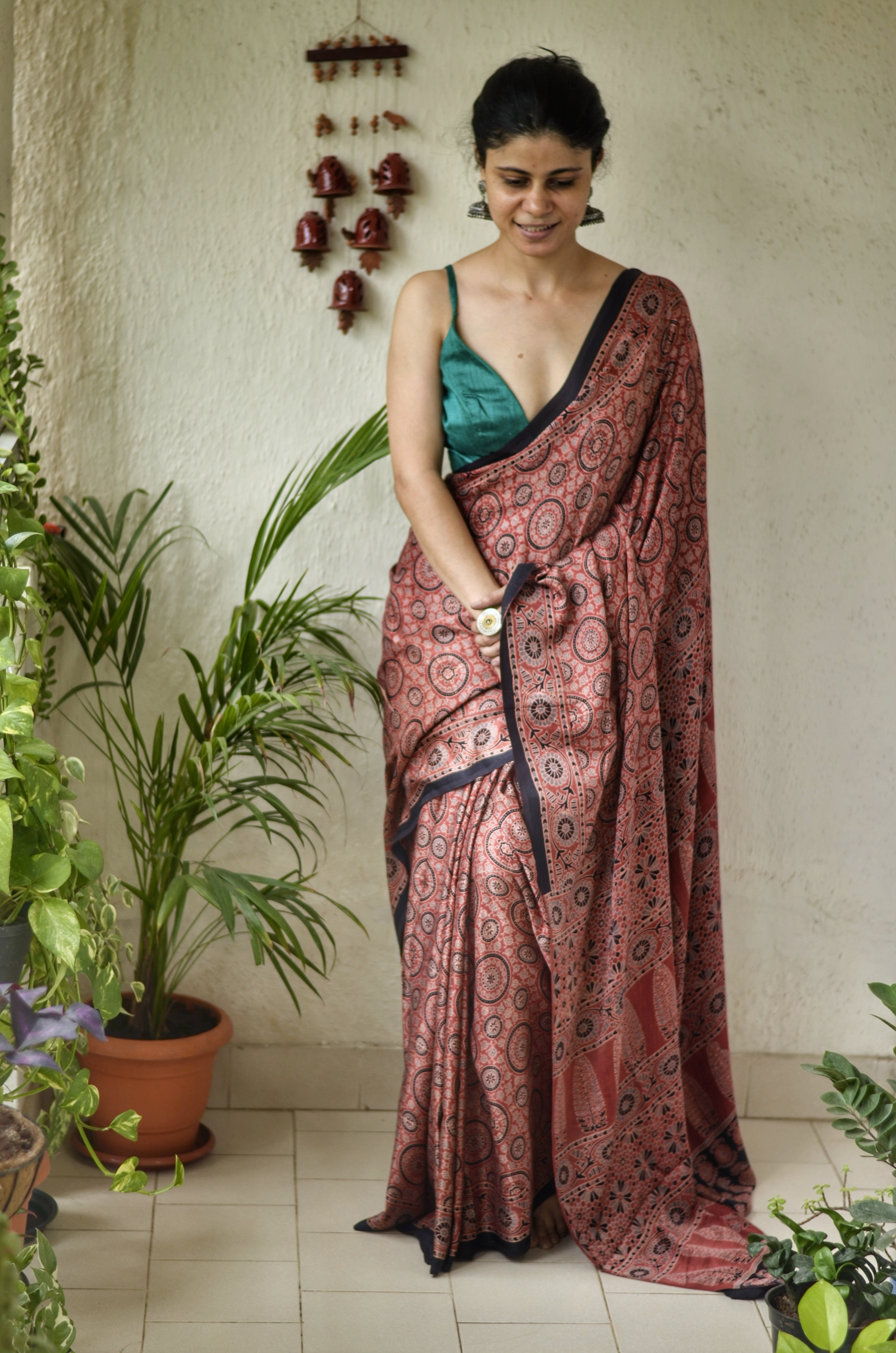Handblock printed and handmade natural dyed modal silk Ajrakh  saree.