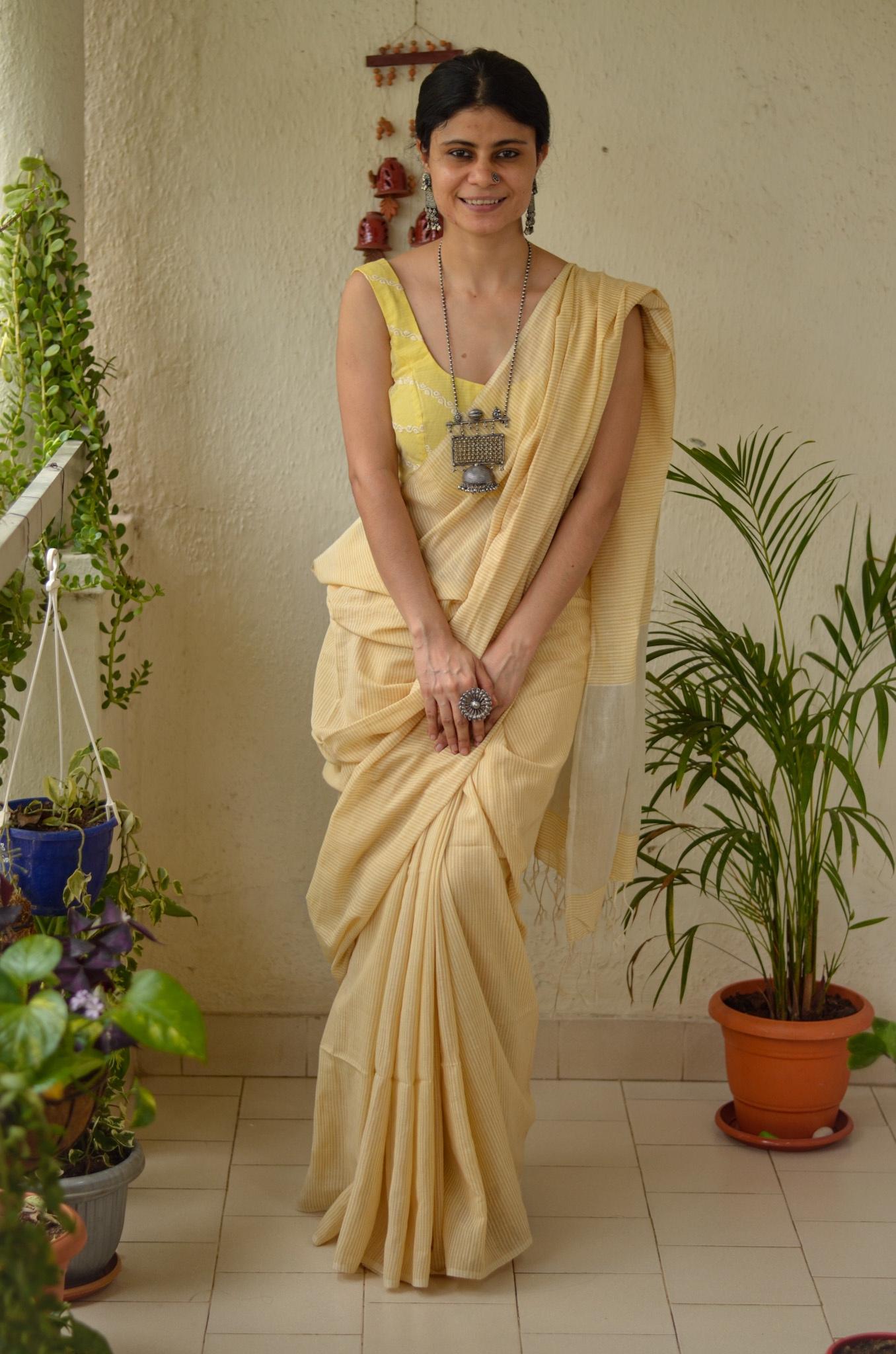 Handloom cotton saree with jari in pallu