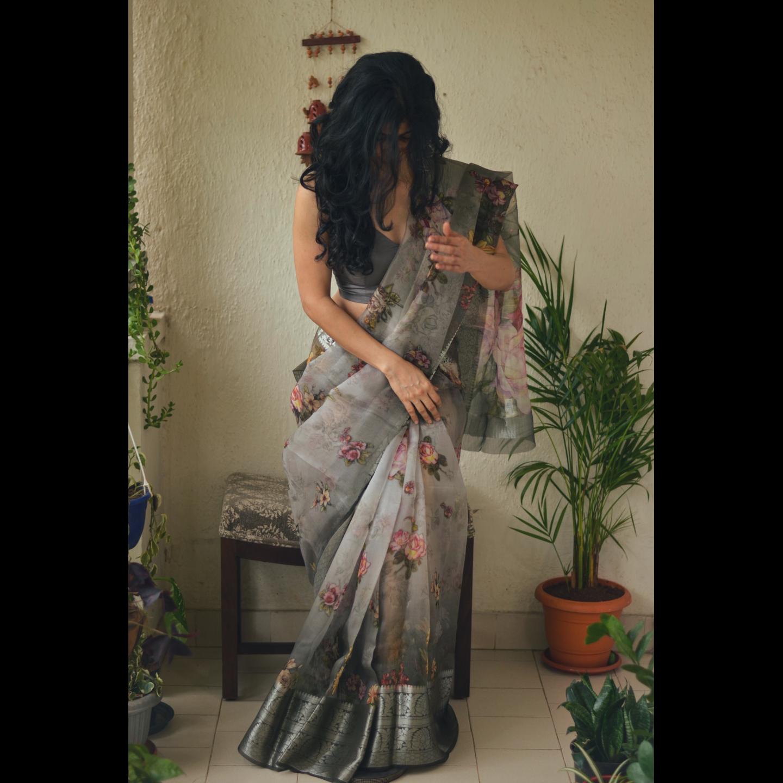 Organza Floral Print Banarasi Border Silk Saree with an additional  crape silk blouse piece.