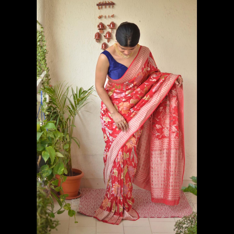 handwoven kadhiyal meenakari jal  motif Georgette banarasi sari