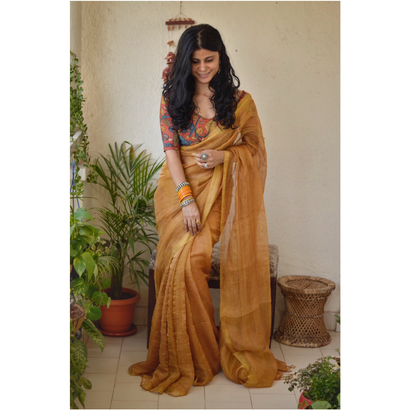 Handwoven Jari blended  linen saree with jari border