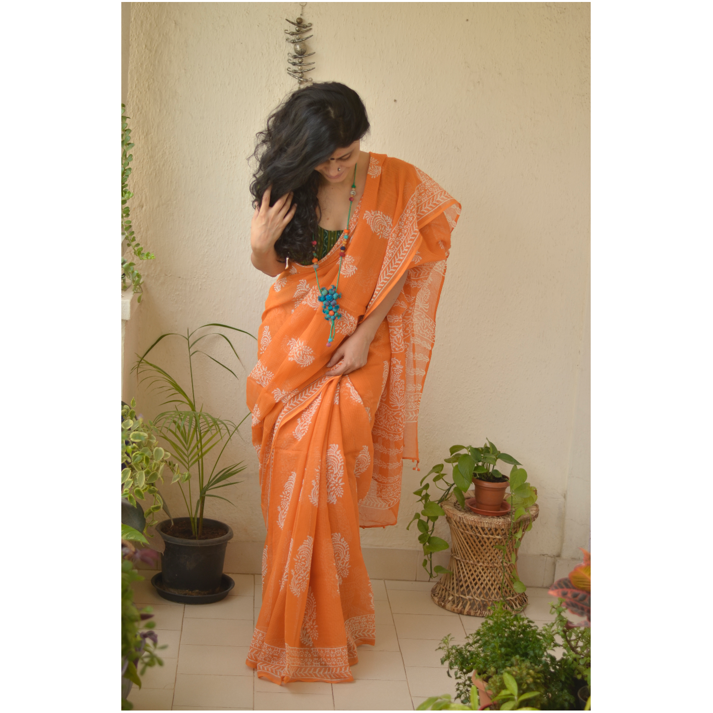 Handmade and handembroidered kota doria saree