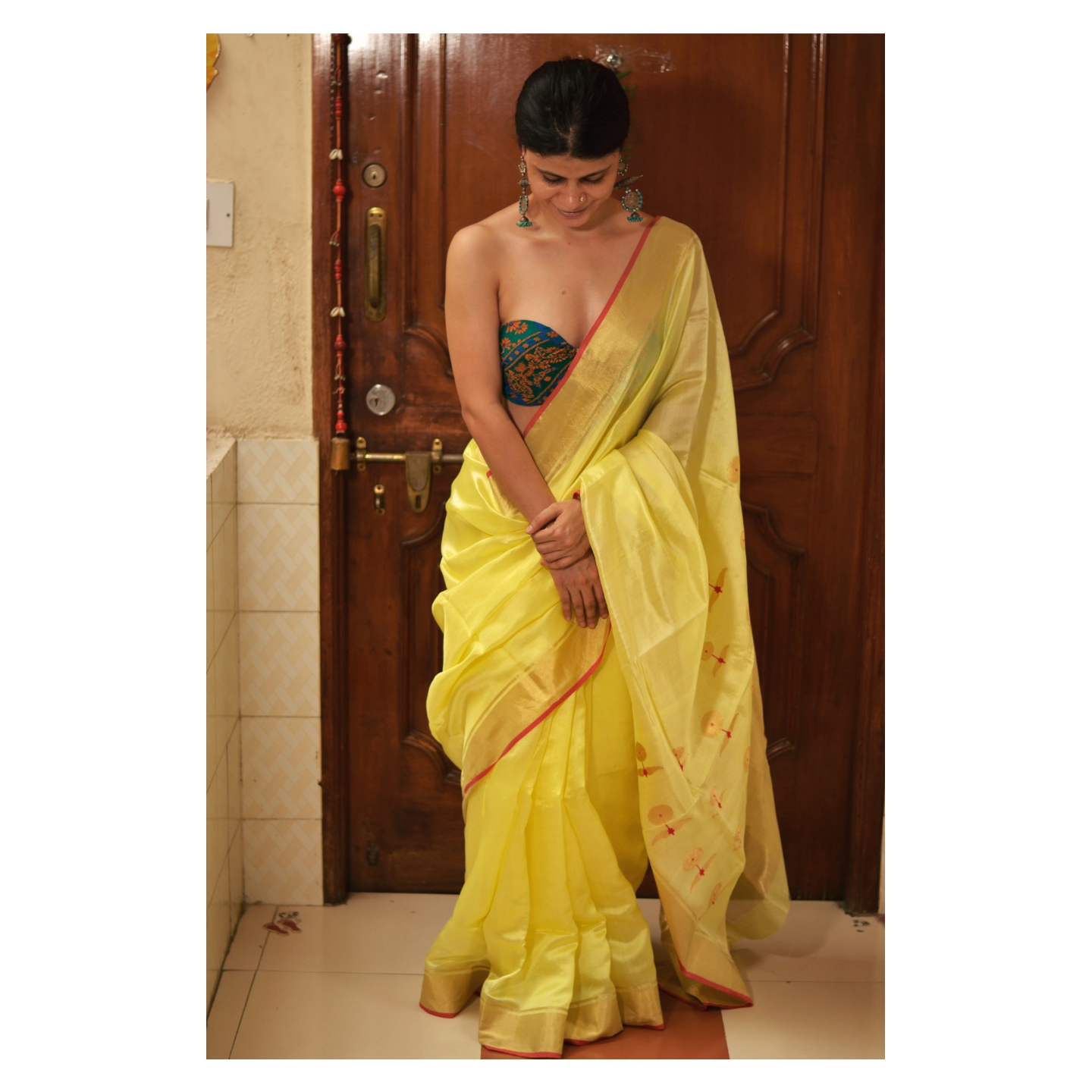 Handwoven chanderi silk saree with gold  border and gold jari meenakshi motifs on pallu .