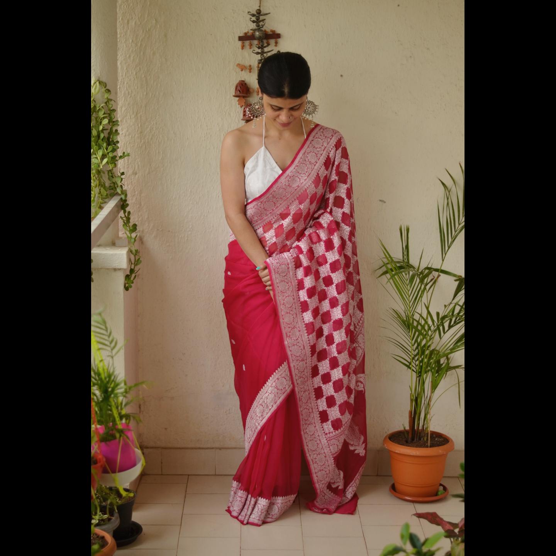 Handloom kadhuwa jari motifs chiffon  silk banarasi saree.