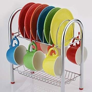 Stainless Steel 2 Layer Plate & Bowl Stand Kitchen Utensil RackCutlery Stand