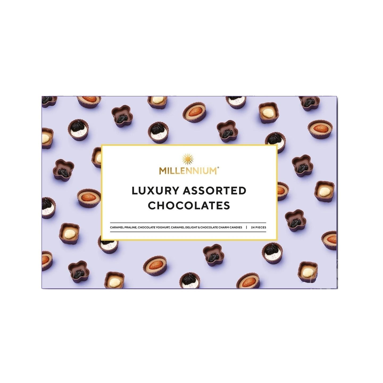 Millennium Luxury Assorted Chocolates with Caramel Praline, Chocolate Yoghurt, Caramel Delight & Chocolate Charm