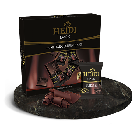 Heidi Dark Extreme 85 Chocolate Mini Bites - Individually Wrapped 36 x 5gm Tablets in an attractive Gift Box