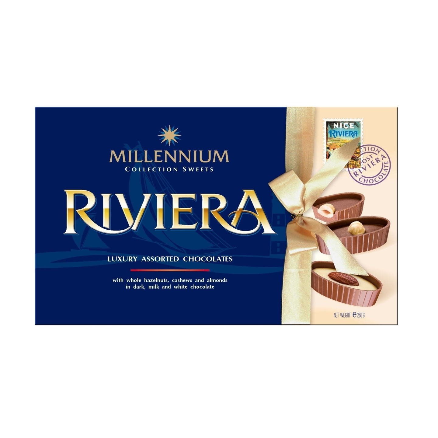 Riviera Premium Assorted Chocolate with Whole Hazelnuts, Cashews and Almonds in Milk, Dark and White Chocolate.