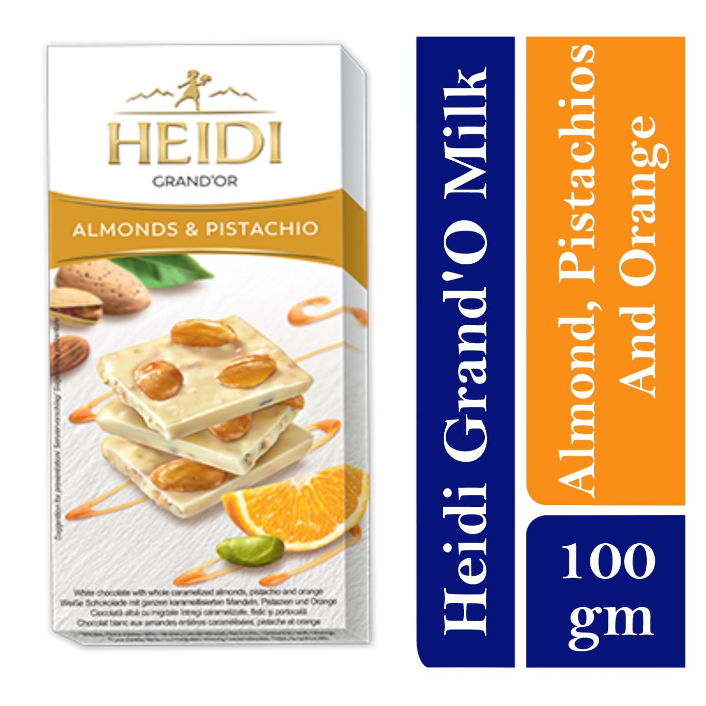 Heidi GrandOr white Chocolate with whole caramelized Almonds, Pistachios and Orange