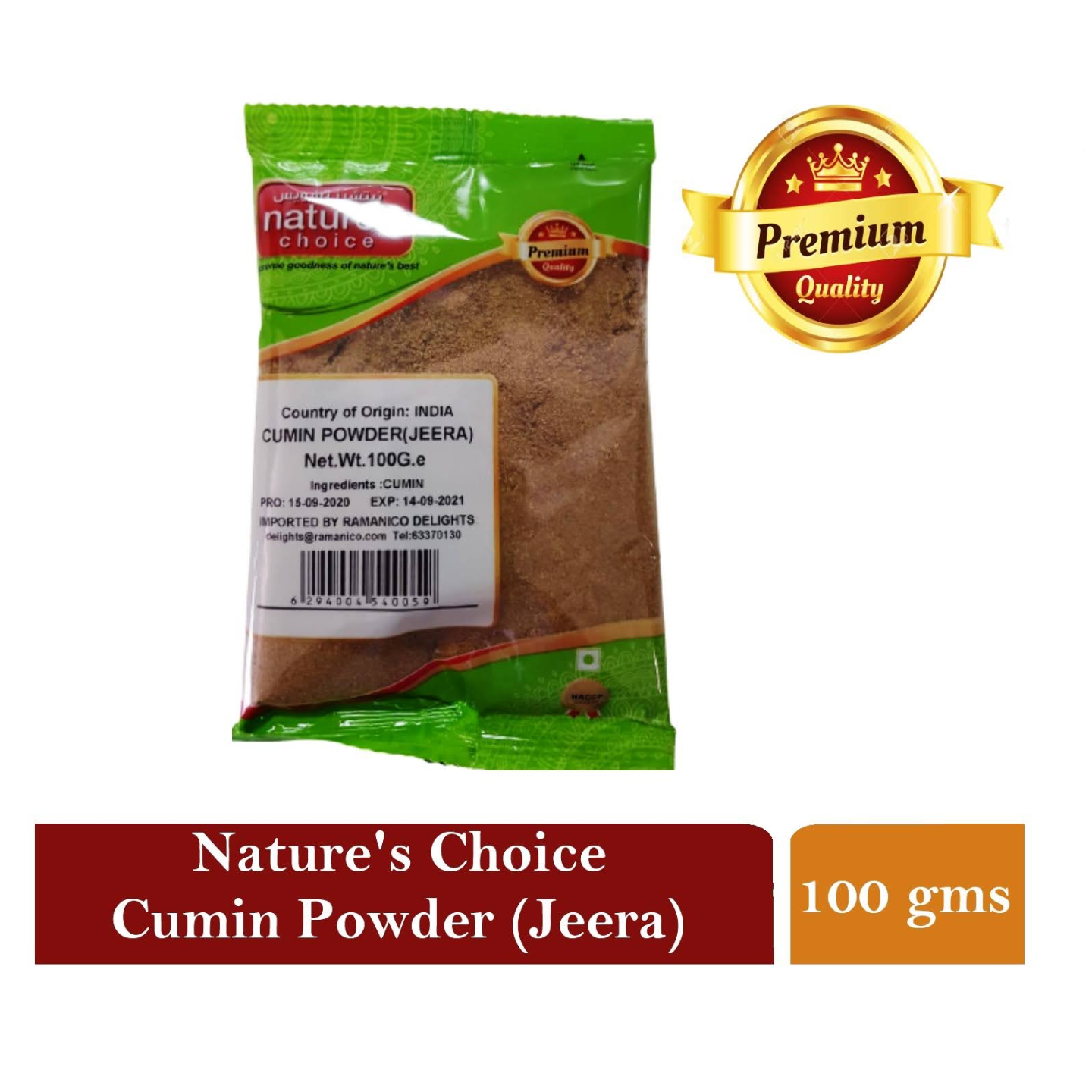 NATURES CHOICE PREMIUM QUALITY CUMIN POWDER 100G