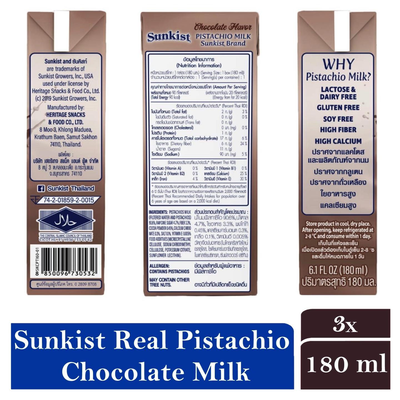Sunkist Pistachios Milk Chocolate Flavor 3 x 180ml
