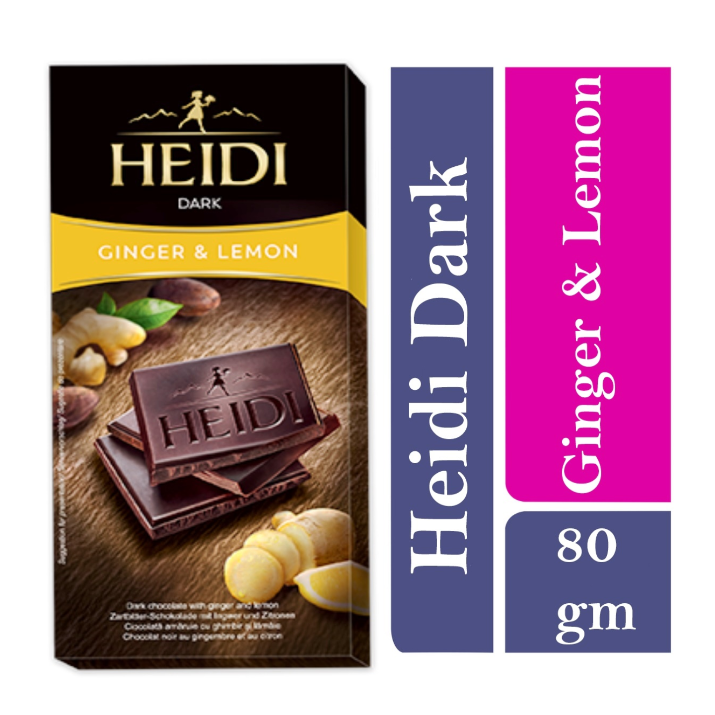 Heidi Dark Chocolate with Ginger and a hint of lemon